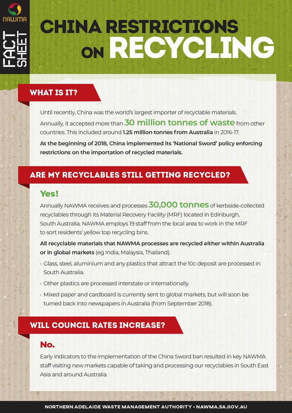 NAWMA Fact Sheet - China Sword Policy