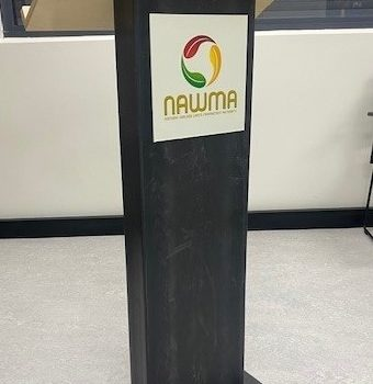 NAWMA lectern - made in SA using HDPE plastic recovered from local recycling bins